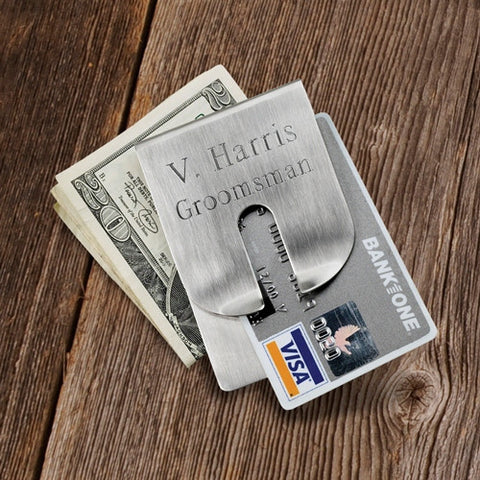 Personalized Brushed Harrison Clever Money Clip Wallet