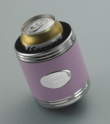 Personalized Pink Leather Koozie