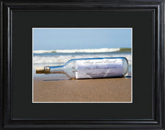 Personalized Message in a Bottle Print with Wood Frame