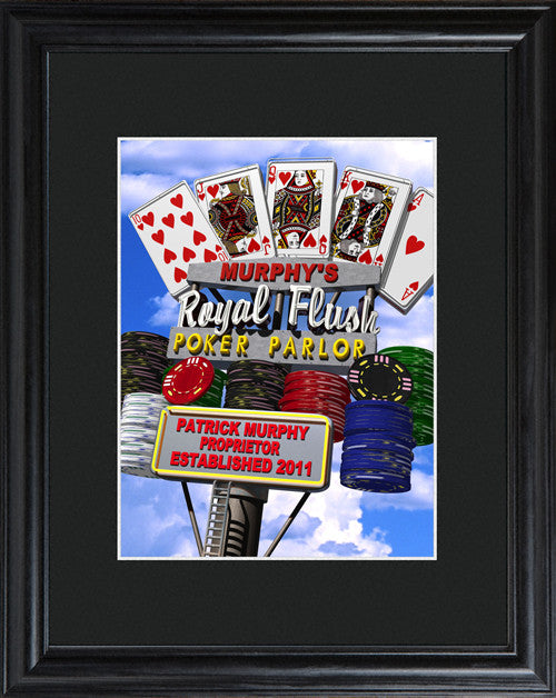Personalized Marquee Daytime Royal Flush Framed Print
