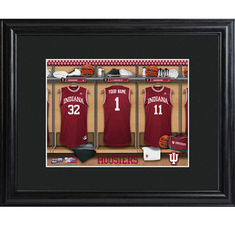 Personalized College Basketball Locker Room Print with Wood Frame