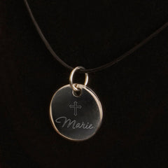 Personalized Inspirational Pendant Necklace with Engraved Cross
