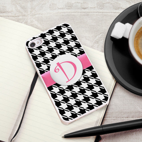 Houndstooth iPhone Case with White Trim