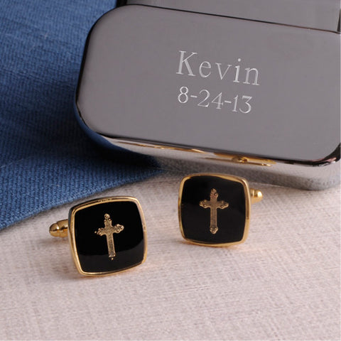 Gold Cross Cufflinks with Personalized Case