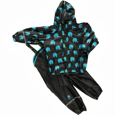 Elephant Print Rainwear Set (Jacket & Pants) in Black/Blue by CeLaVi
