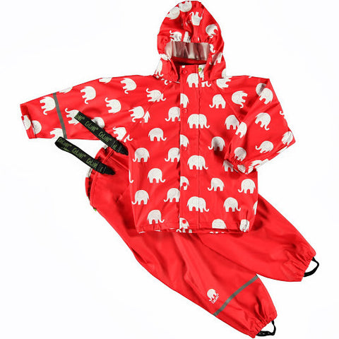 Elephant Print Rainwear Set (Jacket & Pants) in Red/White, by CeLaVi