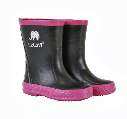 Girls Wellies / Gumboots - (Pink/Black), by CeLaVi Image