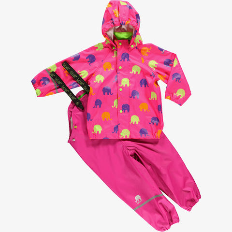Elephant Print Rainwear Set (Jacket & Pants) in Pink, by CeLaVi (Size 70 and 120 only)