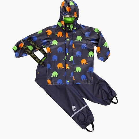 Elephant Print Rainwear Set (Jacket & Pants) in Navy, by CeLaVi (Size 70 Only)