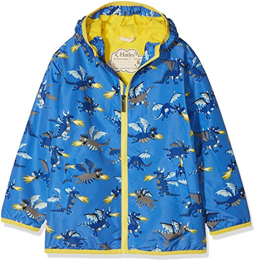 Blue and Yellow Fire Breathing Dragons Rain Jacket