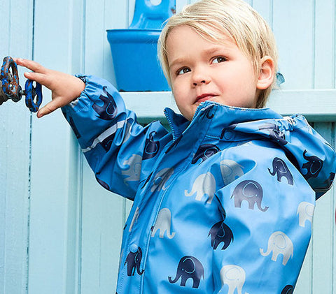 Elephant Print Rainwear Set (Jacket & Pants) in Blue by CeLaVi