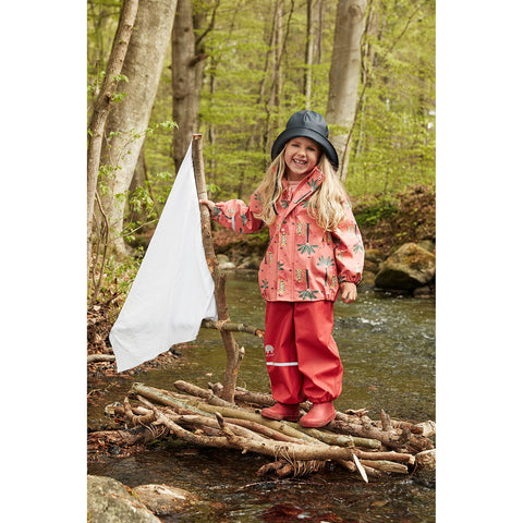 Rainwear set (Jacket & Pants) in Baked Apple Palm Print, by CeLaVi
