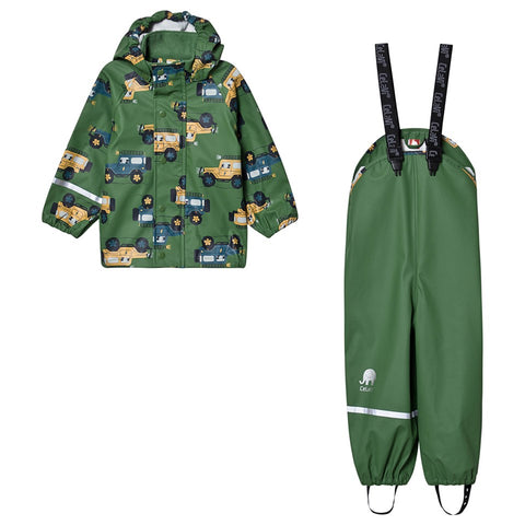Rainwear set (Jacket & Pants) in Elm Green Truck Print, by CeLaVi