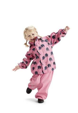 Elephant Print Rainwear Set (Jacket & Pants) in Pink/black, by CeLaVi