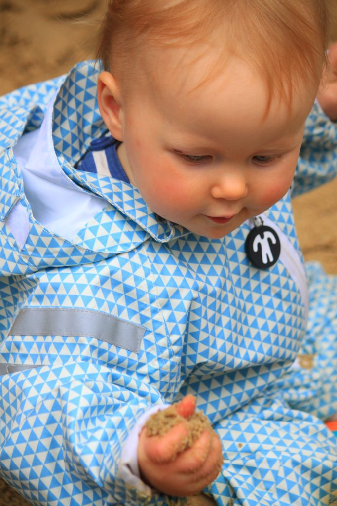 Toddler in Ace Light Blue Rainsuit