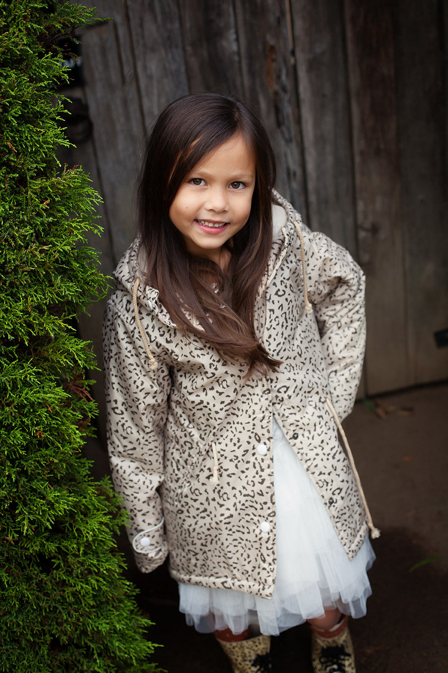 Girls Raincoat in Natural Leopard Image
