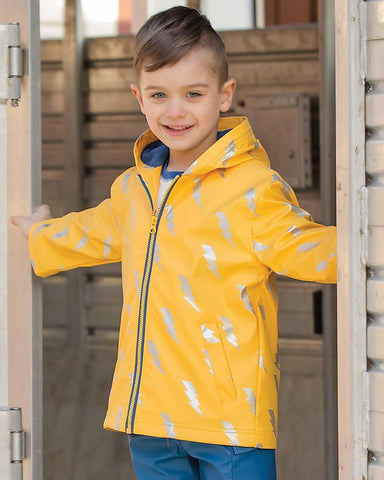 Yellow Lightening Bolt Raincoat, by Hatley
