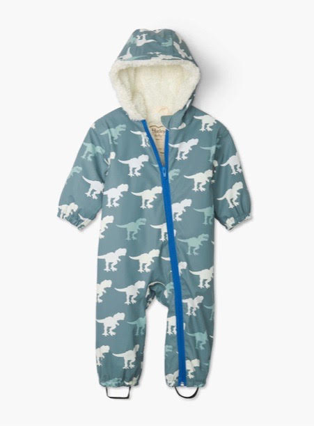 **NEW** Sherpa Lined T-Rex Colour Changing Rainsuit, by Hatley