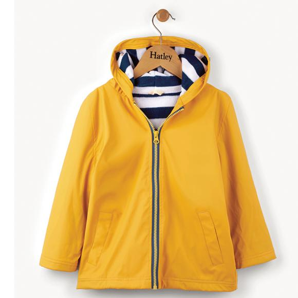 Front View of Yellow With Navy Stripe Lining Hatley Raincoat