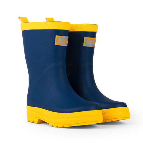 Hatley Navy and Yellow Matte Gumboots