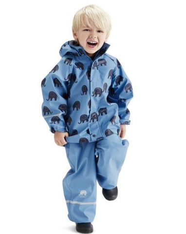 Elephant Print Rainwear Set (Jacket & Pants) in Blue with Black by CeLaVi
