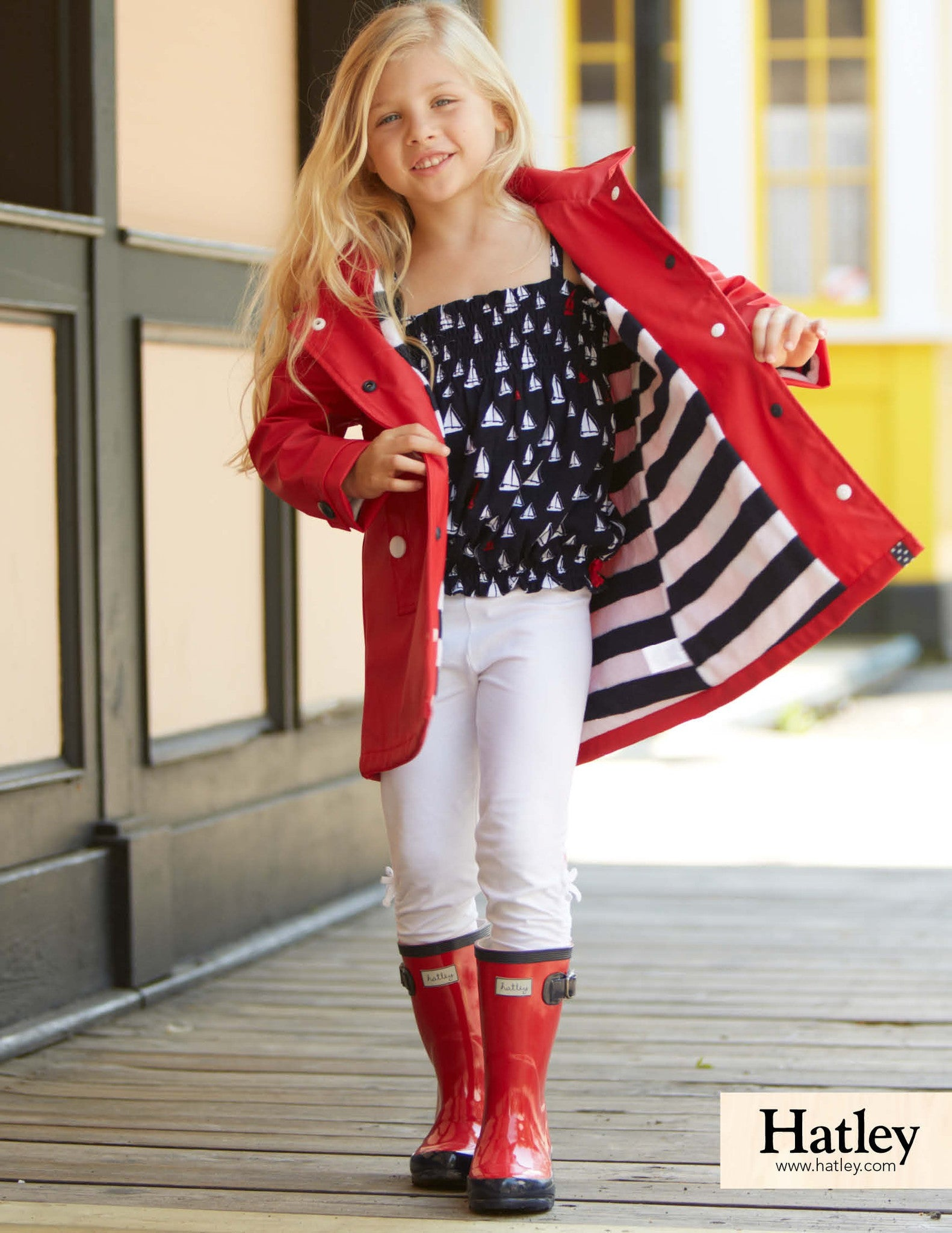 Girl in Red Hatley Raincoat
