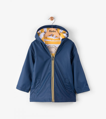 Navy and Yellow Stripe Lining Raincoat, by Hatley