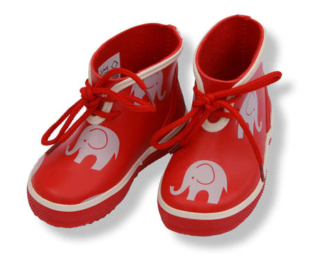 Elephant Print Low Wellies / Gumboots (Red), by CeLaVi