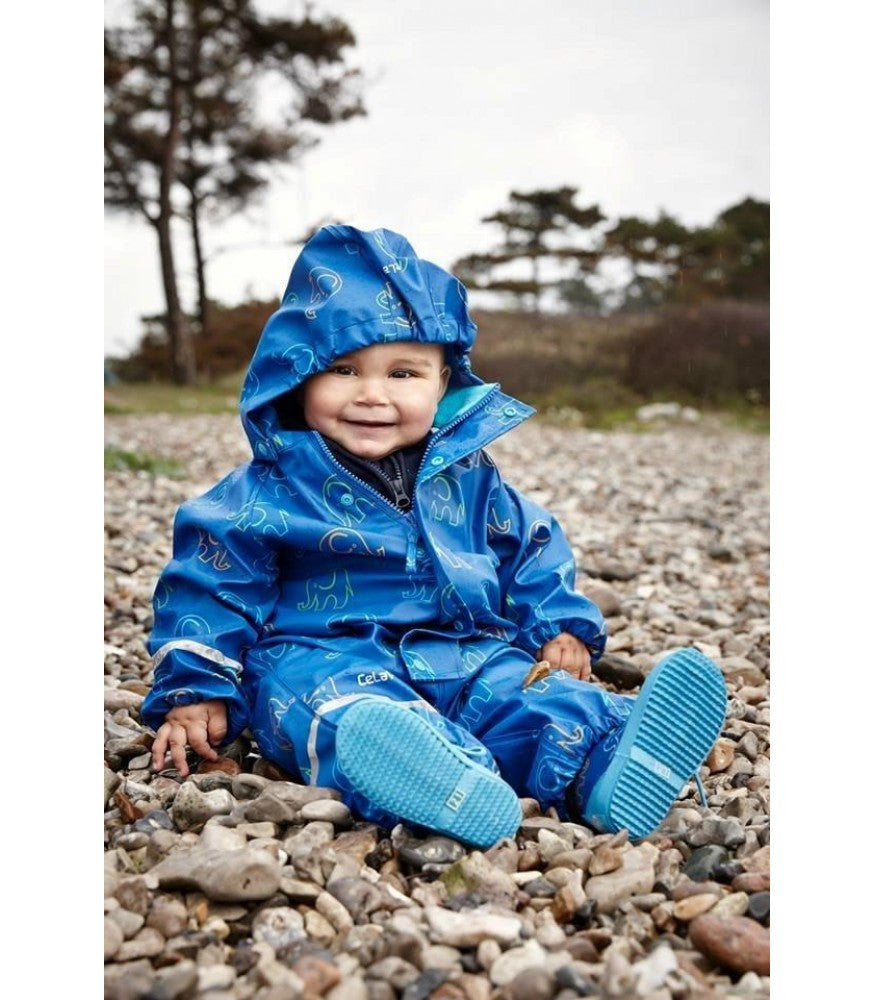 Elephant Print Rainwear Set (Jacket & Pants) in Oceanblue, by CeLaVi (Size 70 and 120 Only)