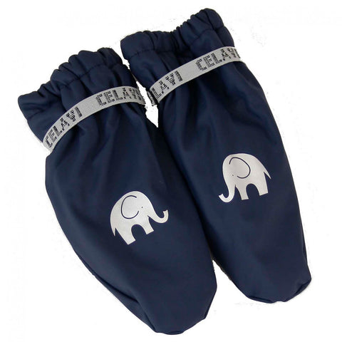 Elephant Print PU Padded Mittens/Gloves in Navy, by CeLaVi