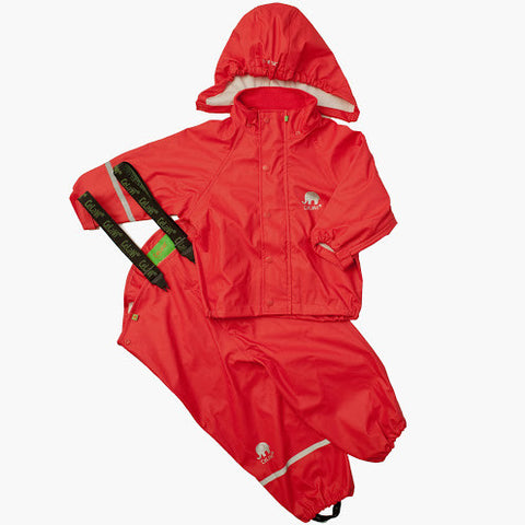 Basic Rainwear Set (Jacket & Pants) in Red, by CeLaVi