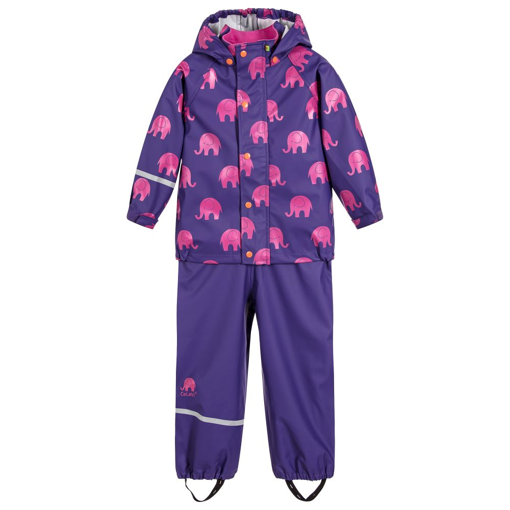 Elephant Print Rainwear Set (Jacket & Pants) in Purple/pink, by CeLaVi