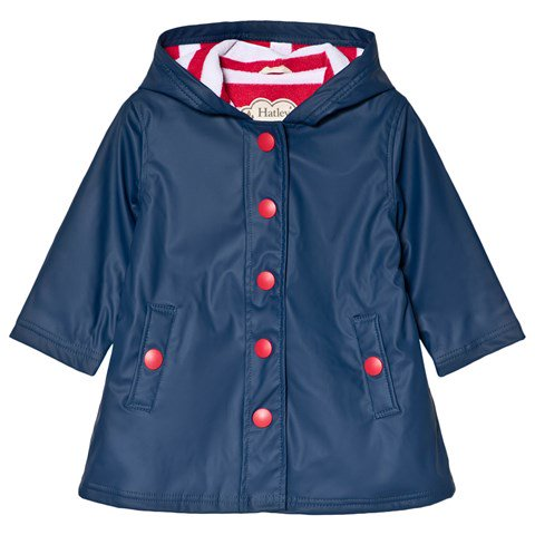 Navy Raincoat with Red Buttons, by Hatley