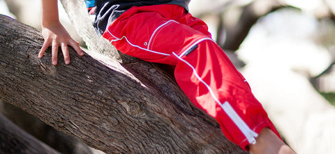 Red Waterproof pants - Slicks Zippers by Run Jump Splash Play
