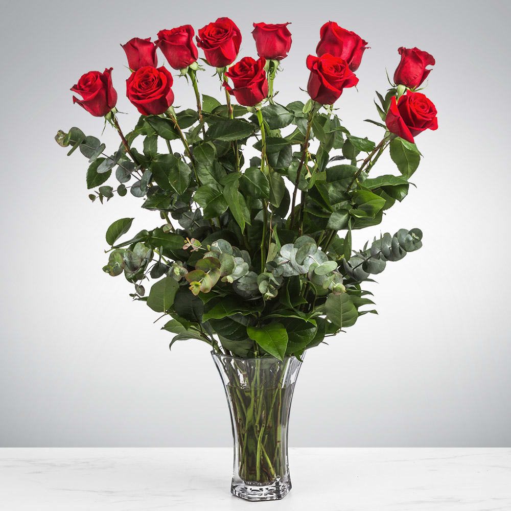 Dozen Long Stemmed Red Roses By BloomNation™