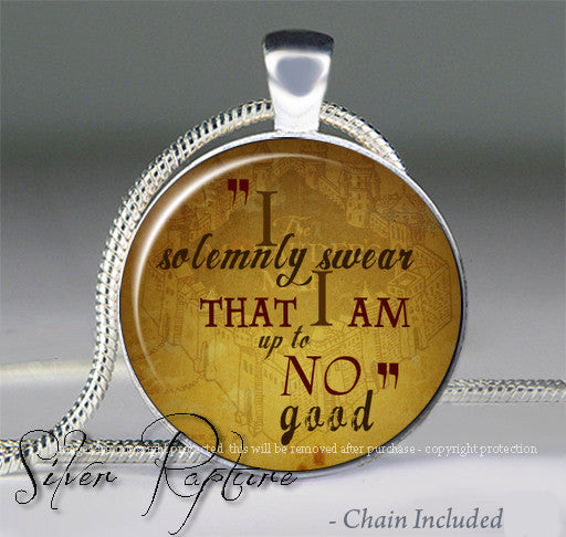 Harry Potter I Solemnly Swear Quote Glass Pendant And Silver