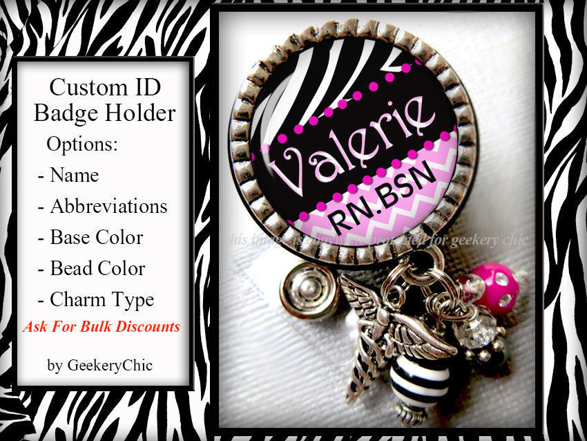 Personalized Id Badge Reel Zebra Pink Chic Bridal Boutique