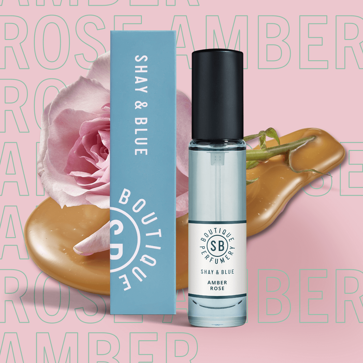 Amber Rose Fragrance 10ml | New season May Rose is blended with white amber and sweet creamy notes. | Clean All Gender Fragrance | Shay & Blue