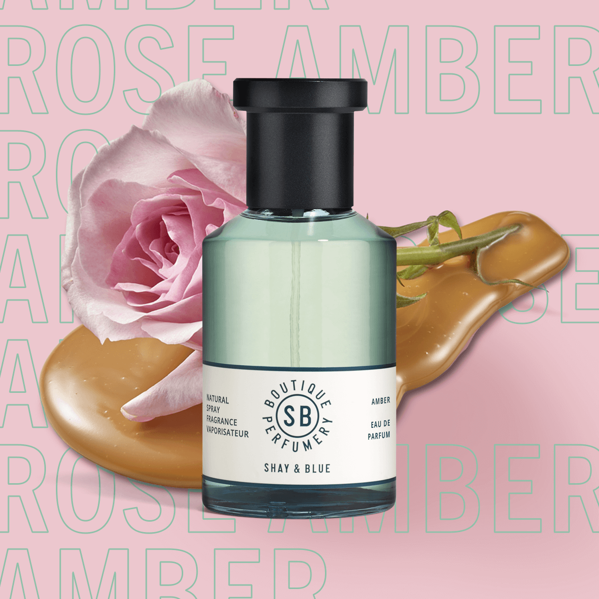Amber Rose Fragrance 100ml | New season May Rose is blended with white amber and sweet creamy notes. | Clean All Gender Fragrance | Shay & Blue