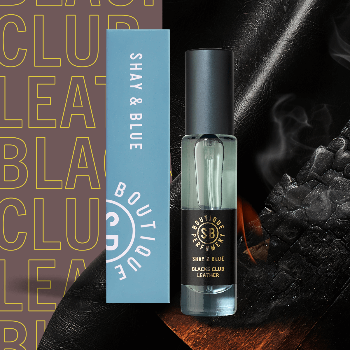 Blacks Club Leather Fragrance Concentrate 10ml | Rich with the scent of English leather, fire wood and a smooth brandy. | Clean All Gender Fragrance | Shay & Blue