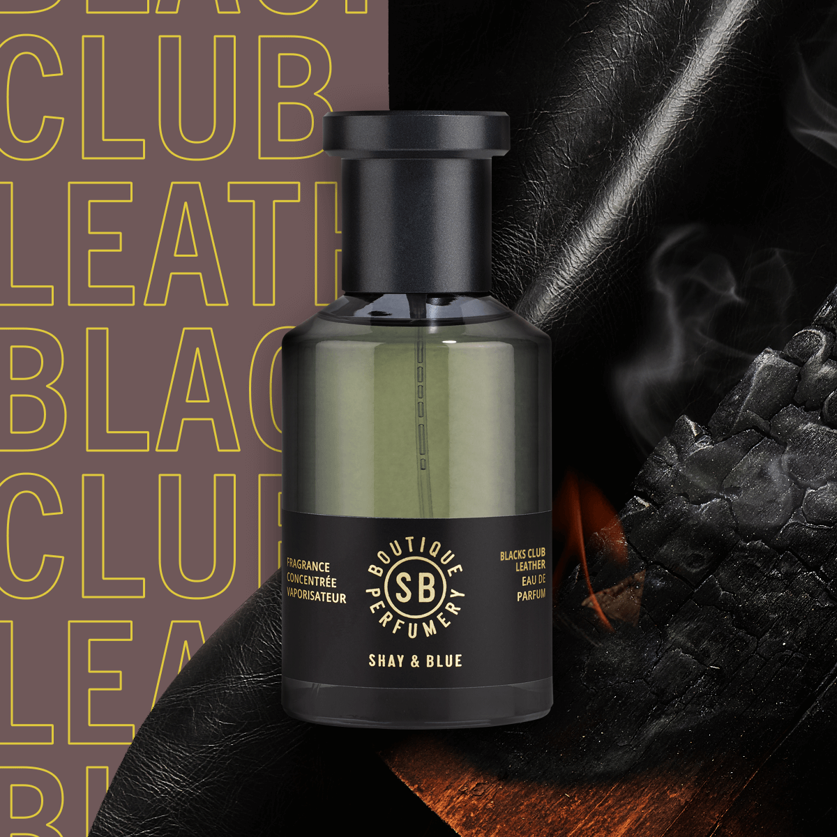 Blacks Club Leather Fragrance Concentrate 100ml | Rich with the scent of English leather, fire wood and a smooth brandy. | Clean All Gender Fragrance | Shay & Blue