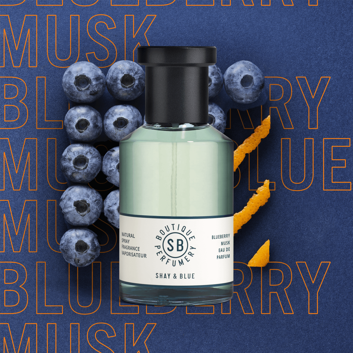 Blueberry Musk Fragrance 100ml | Soft blueberry & orange blossom fused with magnolia and silky cashmere. | Clean All Gender Fragrance | Shay & Blue