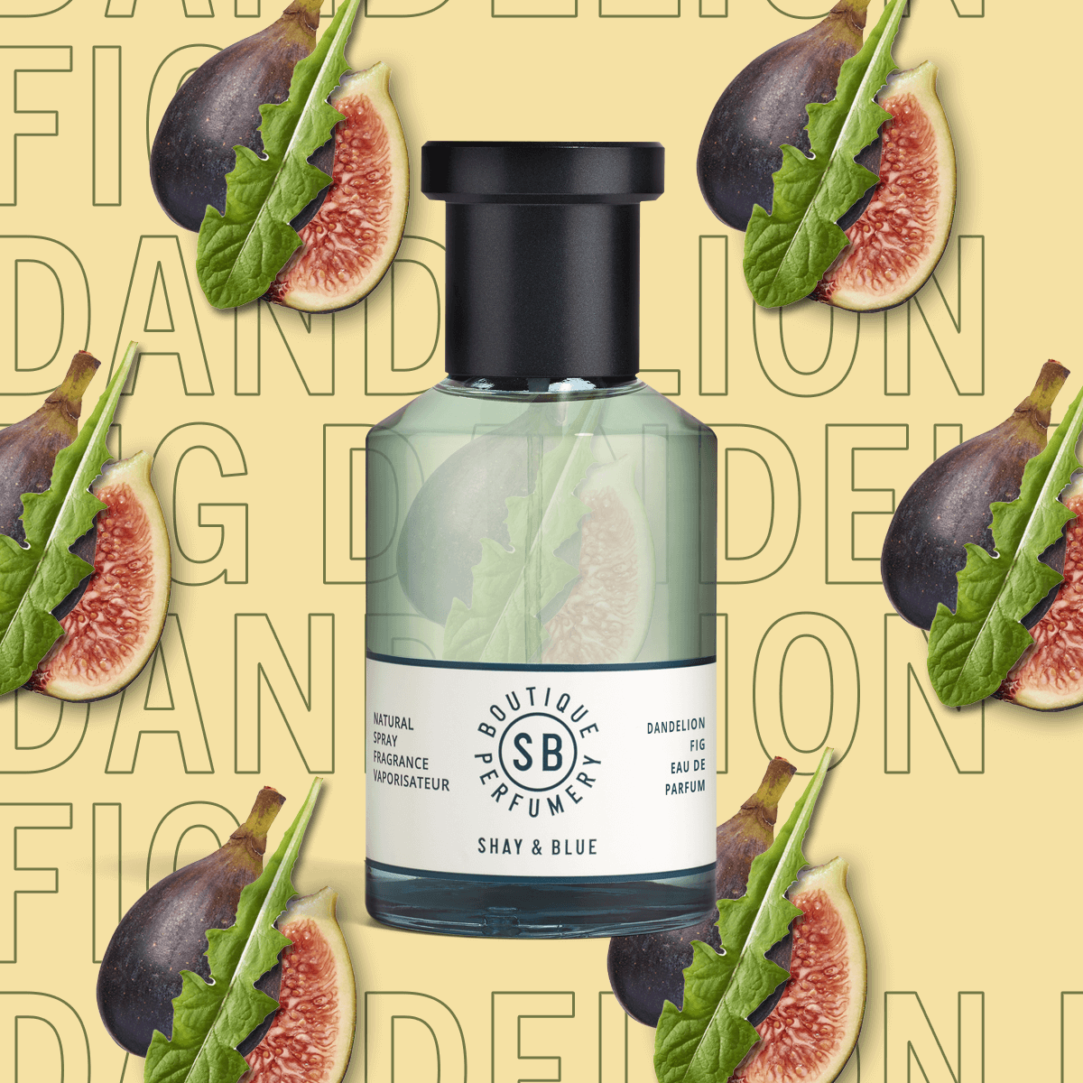 Dandelion Fig Fragrance 100ml | Fig and dandelion leaf blended with lemongrass, tomato vine and juniper | Clean All Gender Fragrance | Shay & Blue