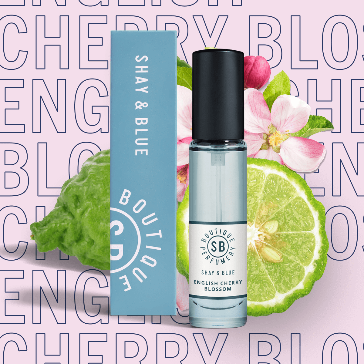 English Cherry Blossom Fragrance 10ml | Airy blossom with black cherries, fig and bergamot for a sparkling citrus lift. | Clean All Gender Fragrance | Shay & Blue