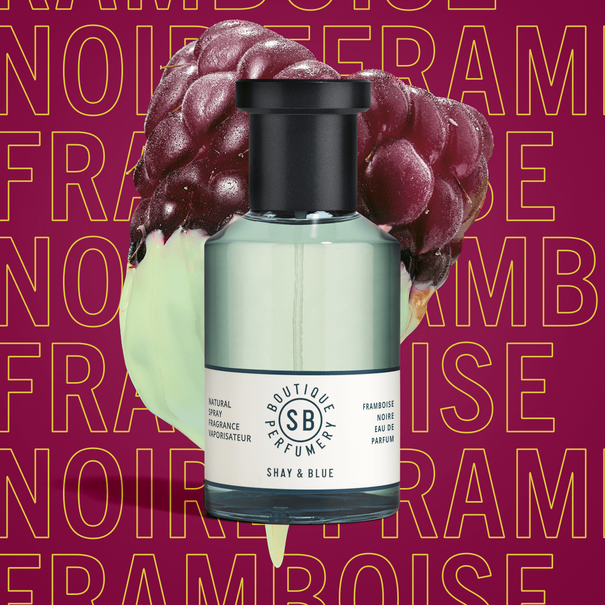 Framboise Noire Fragrance 100ml | Black raspberry and forest berries deepen with the heart of black wood. | Clean All Gender Fragrance | Shay & Blue