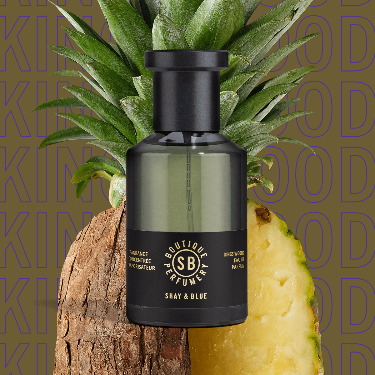 Kings Wood Fragrance Concentrate 100ml | Fresh pineapple with the natural aroma of fearn leaves. | Clean All Gender Fragrance | Shay & Blue