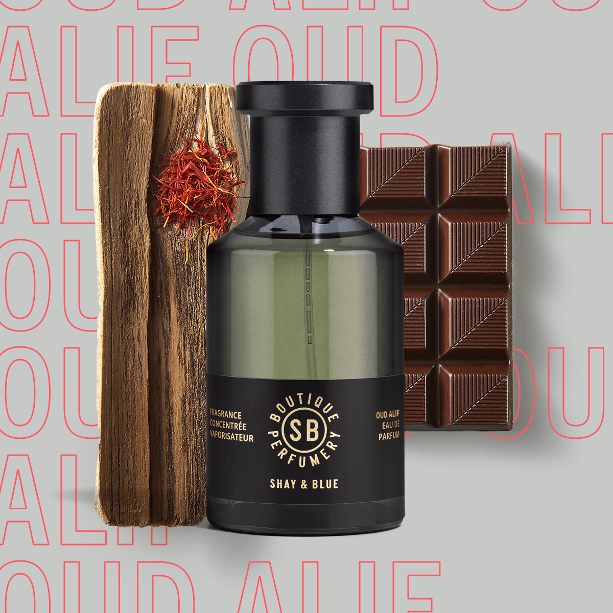 Oud Alif Fragrance Concentrate 100ml | The finest oud agarwood spiked with chocolat noir, saffron and dark patchouli. | Clean All Gender Fragrance | Shay & Blue