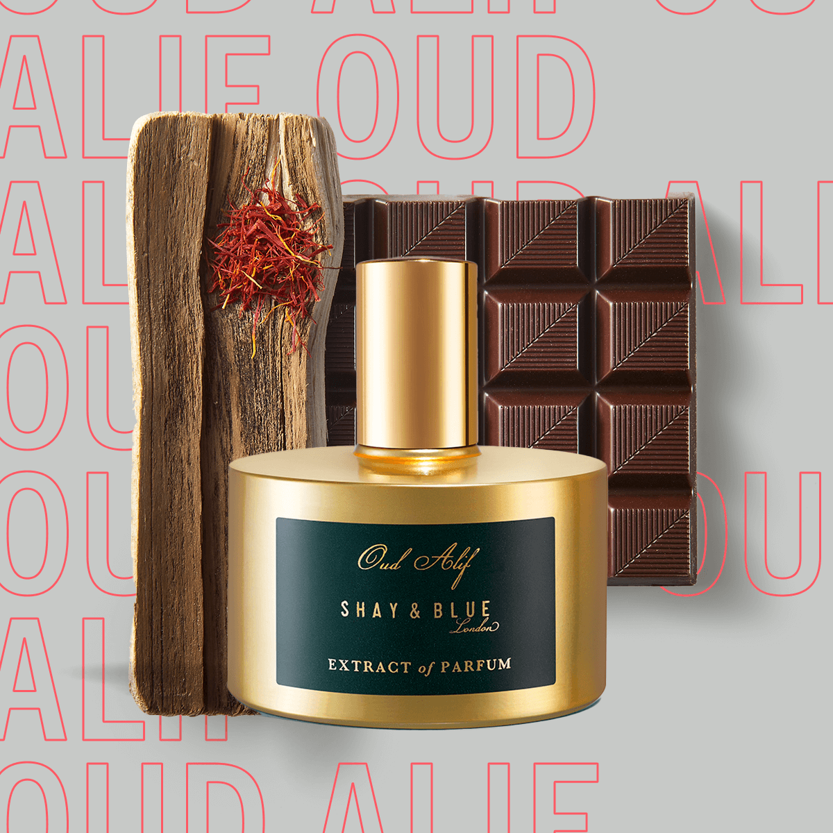 Oud Alif Extract of Parfum 60ml | The finest oud agarwood spiked with chocolat noir, saffron and dark patchouli. | Clean All Gender Fragrance | Shay & Blue