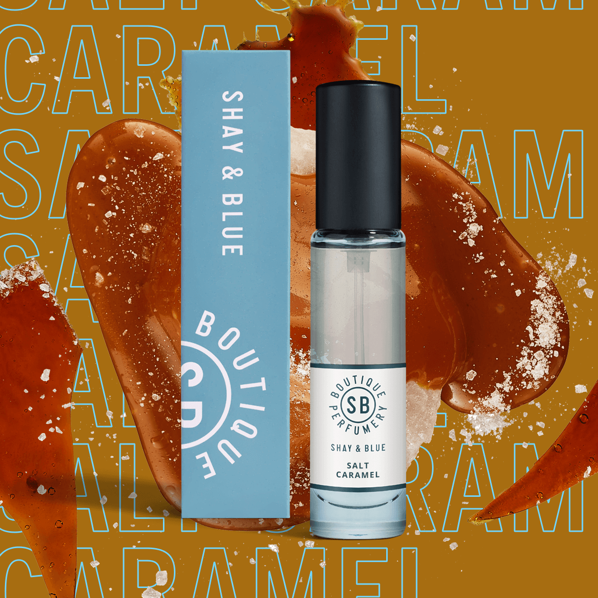 Salt Caramel Fragrance 10ml | Glossy caramel, tonka bean and soft sandalwood meld into deliciously frothy sea salt. | Clean All Gender Fragrance | Shay & Blue