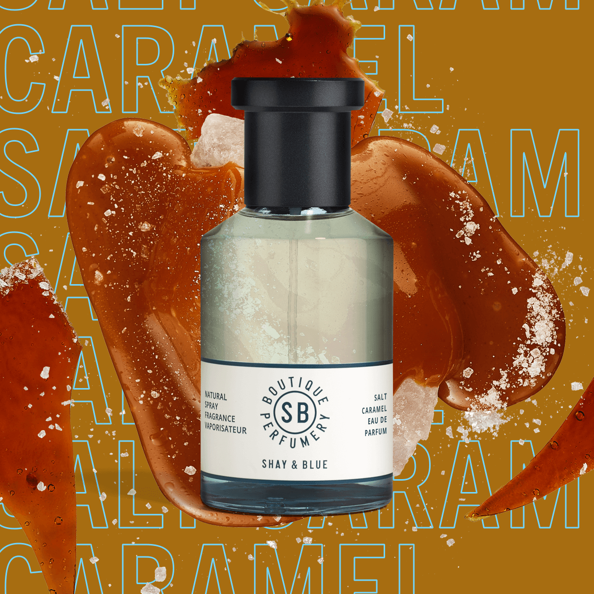 Salt Caramel Fragrance 100ml | Glossy caramel, tonka bean and soft sandalwood meld into deliciously frothy sea salt. | Clean All Gender Fragrance | Shay & Blue
